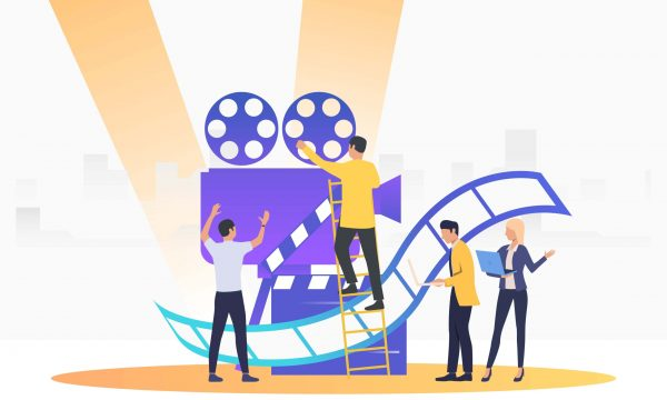 People creating film. Camera, scenario, actors. Filmmaking concept. Vector illustration for presentation slide, poster, new project