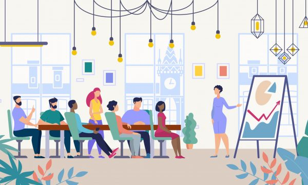 Business Meeting in Company Office Vector Concept
